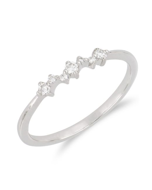 Bony Levy - 18k White Gold Pront Set Faceted Round Diamond Stackable Ring - 0.10 Ctw - Lyst