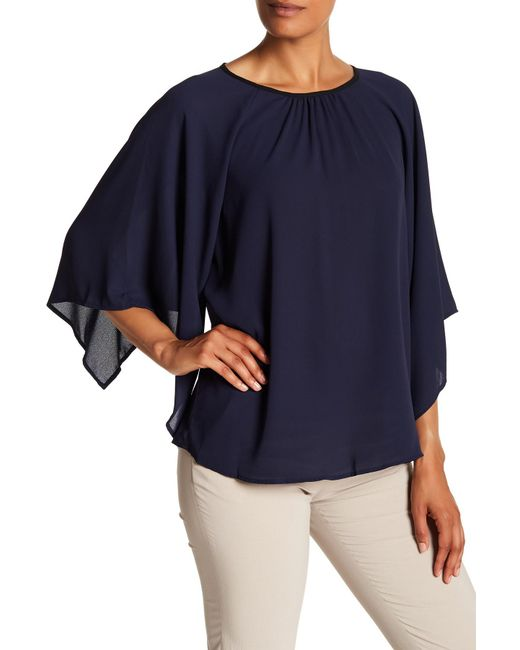 Pleione - Blue Flutter Sleeve Blouse - Lyst