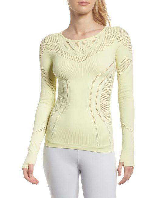 Alo Yoga - Yellow Lark Mesh Inset Long Sleeve Yoga Top - Lyst