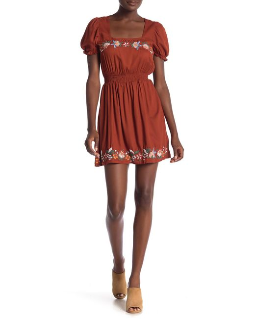 Angie - Embroidered Short Puff Sleeve Dress - Lyst