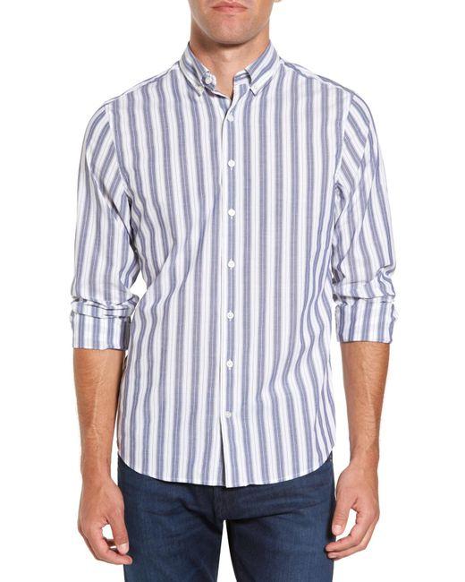 Gant | Blue Slim Fit Tech Varsity Stripe Sport Shirt for Men | Lyst