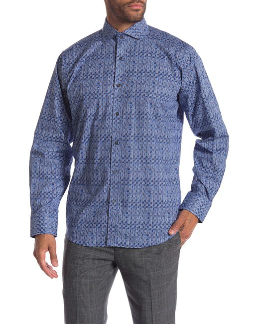 Bugatchi - Blue Abstract Print Woven Classic Fit Shirt for Men - Lyst