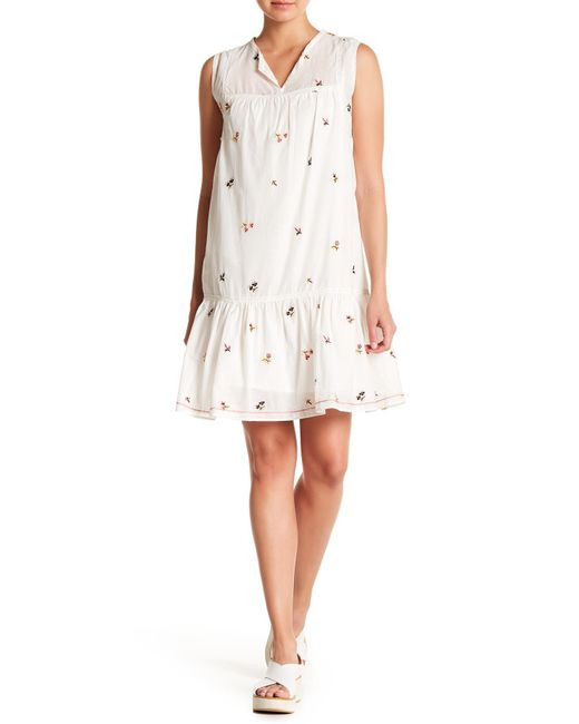 Max Studio - White Embroidered Babydoll Dress - Lyst