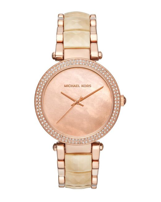 MICHAEL Michael Kors - Metallic Women's Parker Mother Of Pearl & Crystal Accented Bracelet Watch, 39mm - Lyst