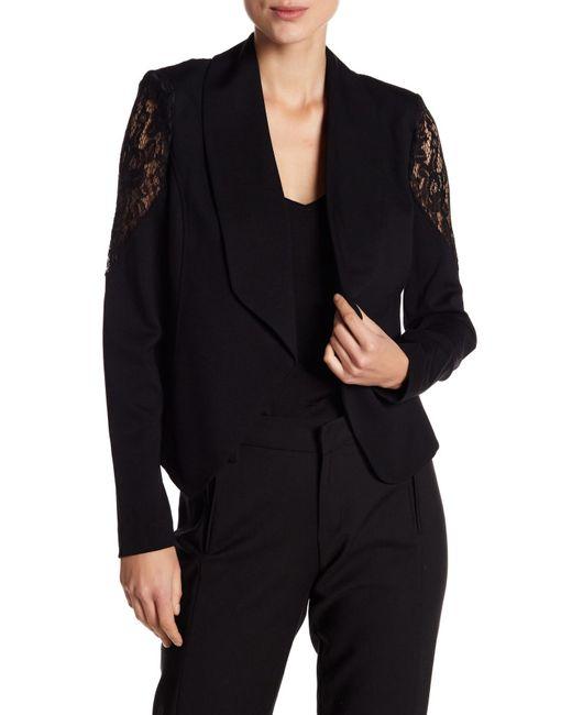 Catherine Malandrino | Black Lace Sleeve Blazer | Lyst
