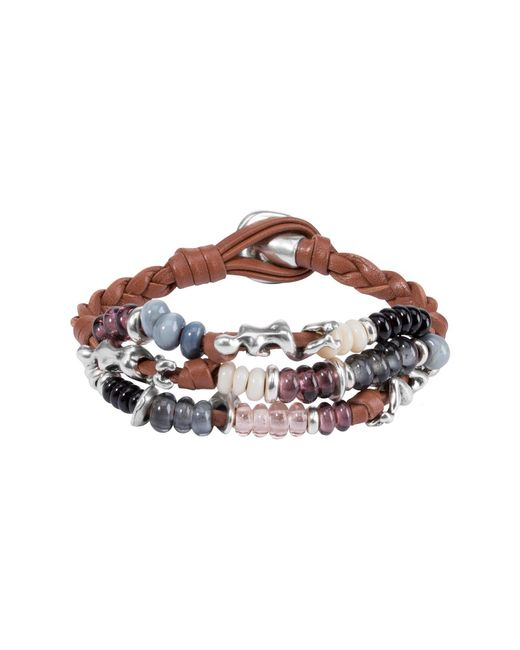 Uno De 50 - Multicolor Kaa Colorful Glass Beaded Braided Leather Bracelet - Lyst