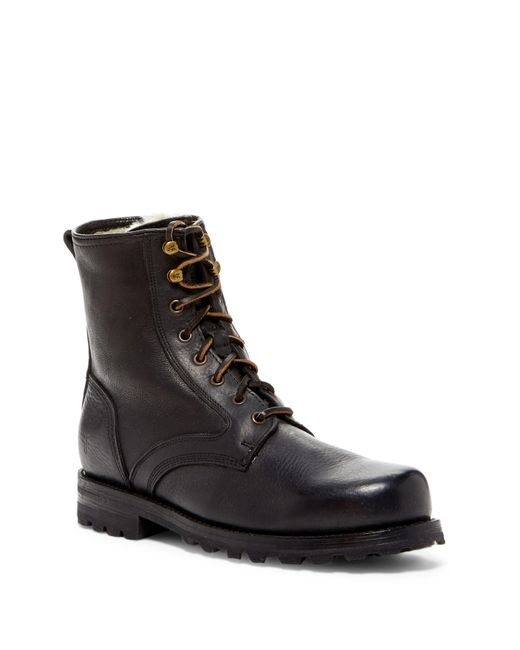 Frye | Black Tumbled Genuine Shearling Lined Leather Boot for Men | Lyst