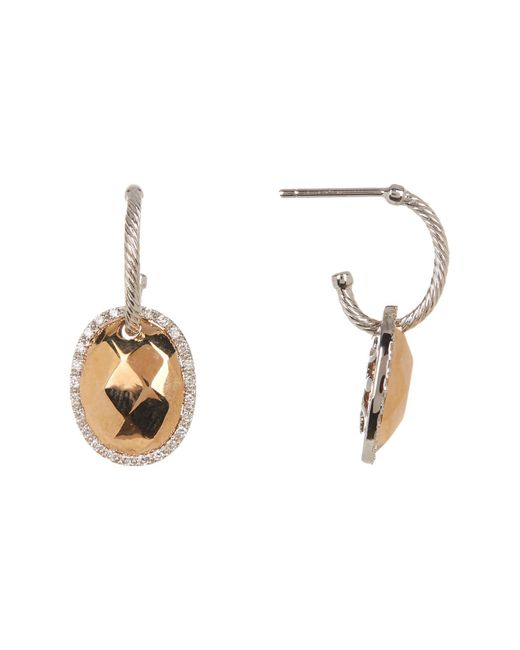 Alor - Metallic 18k Rose Gold Plated Diamond Accent Earrings - 0.26 Ctw - Lyst