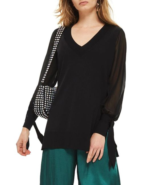 TOPSHOP - Black Chiffon Sleeve Longline Sweater - Lyst