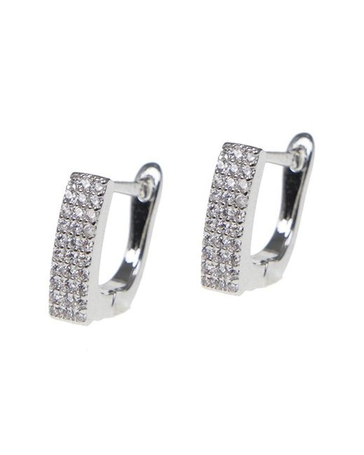 CZ by Kenneth Jay Lane - Metallic Cz Pave Square Huggie Earrings - Lyst