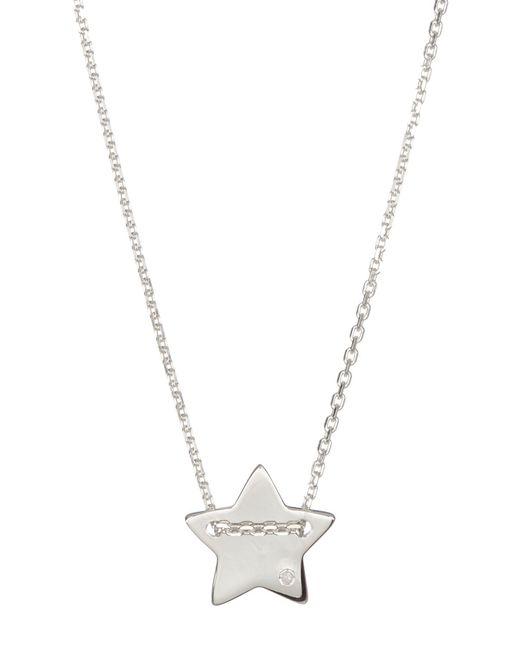 Adornia | Metallic Sterling Silver Diamond Detail Star Charm Necklace - 0.01 Ctw | Lyst