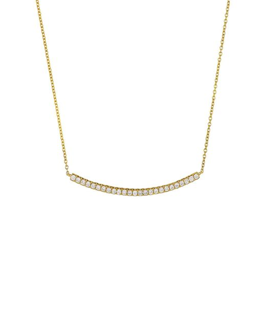 Bony Levy - Metallic 18k Yellow Gold Diamond Curved Bar Pendant Necklace - 0.22 Ctw - Lyst