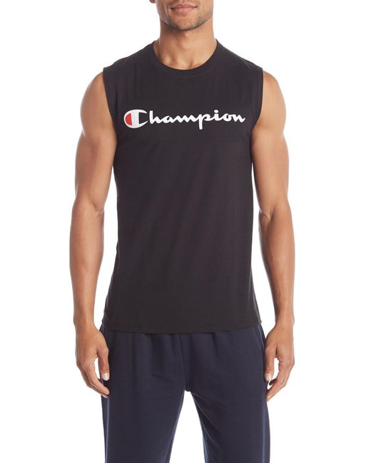 e18bddfe Champion - Black Graphic Jersey Muscle T-shirt for Men - Lyst ...