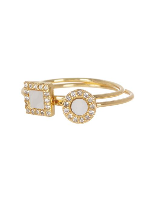 Argento Vivo - Metallic 18k Gold Plated Sterling Silver Mother Of Pearl & Halo Set Crystal Ring Set - Size 7 - Lyst