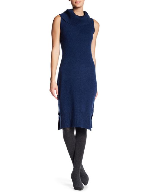 Philosophy Apparel | Blue Sleeveless Cashmere Cowl Neck Midi Dress | Lyst