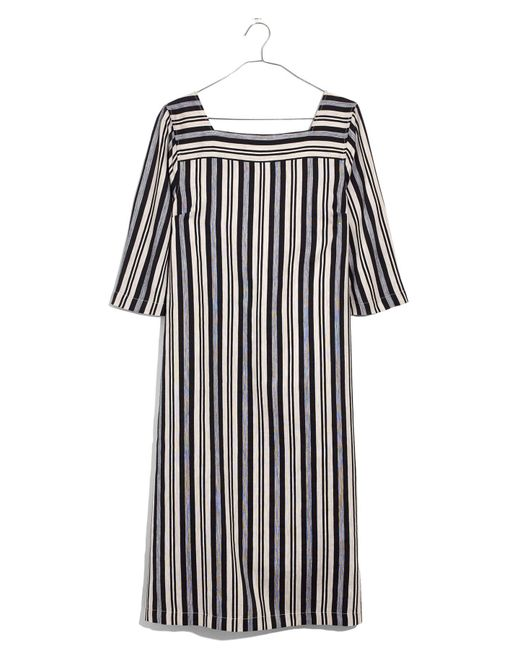 Madewell - Black Evelyn Stripe Square Neck Midi Dress - Lyst