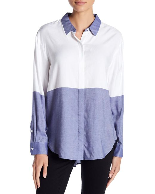 Two By Vince Camuto | Blue Engineered Colorblock Blouse | Lyst