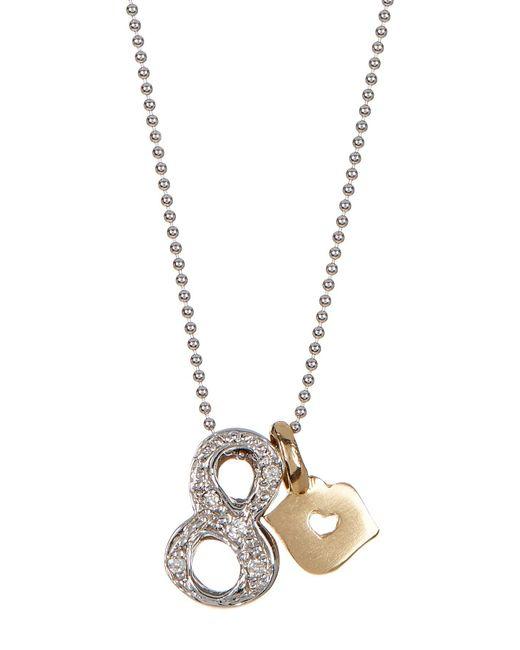 Alex Woo | Multicolor 14k White Gold Little Number '8' Diamond Pendant Necklace - 0.03 Ctw | Lyst