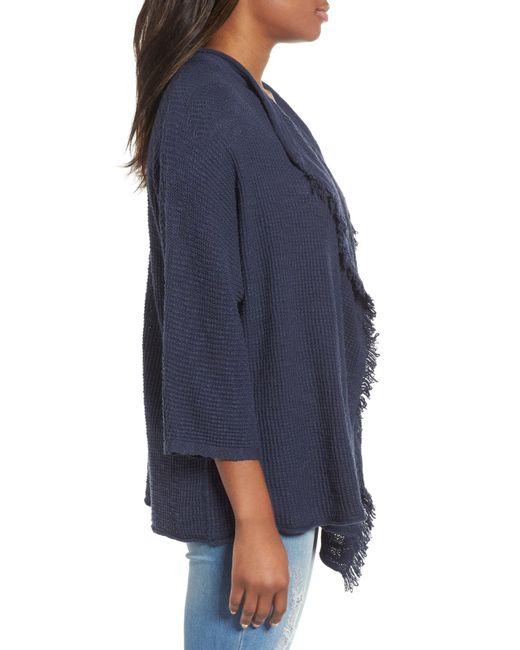 736dfc92d ... Caslon - Blue (r) Drape Front Cotton Blend Cardigan (regular   Petite)  ...