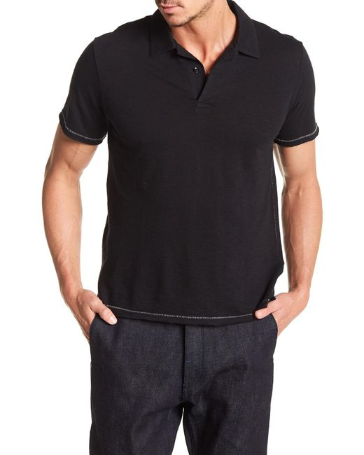 Rag & Bone - Black Owen Topstitch Short Sleeve Polo for Men - Lyst