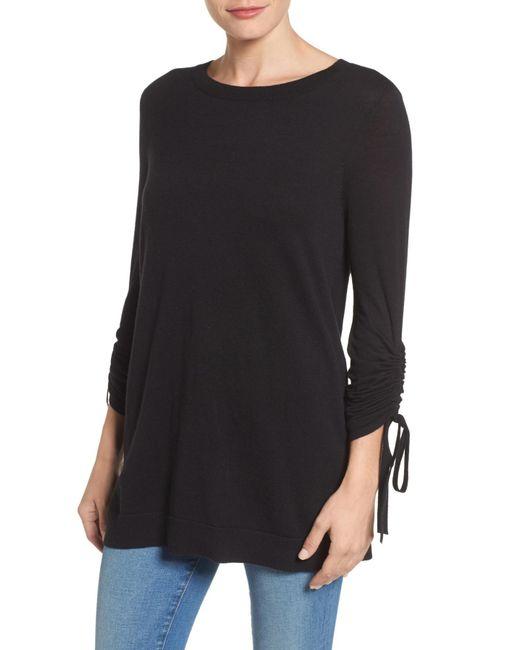 Halogen - Black Ruched Sleeve Tunic Sweater (petite) - Lyst