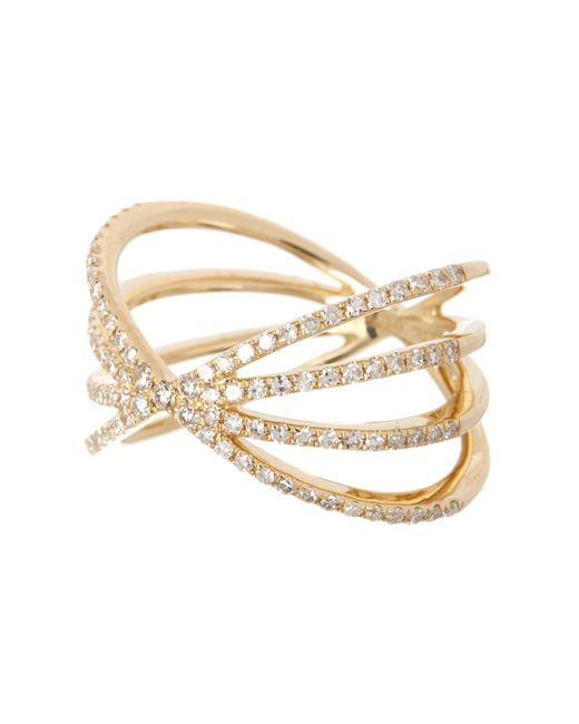 EF Collection - Metallic 14k Yellow Gold Pave Diamond Sunburst Ring - Size 3 - 0.04 Ctw - Lyst
