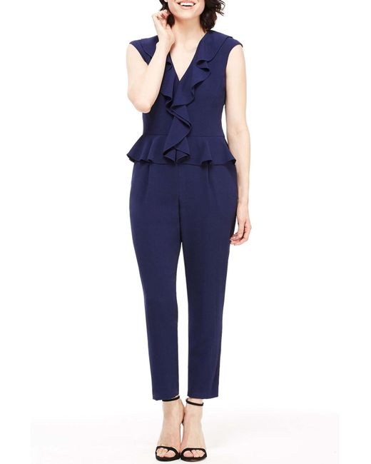 Maggy London - Blue Ruffle Peplum Ankle Jumpsuit (regular & Petite) - Lyst