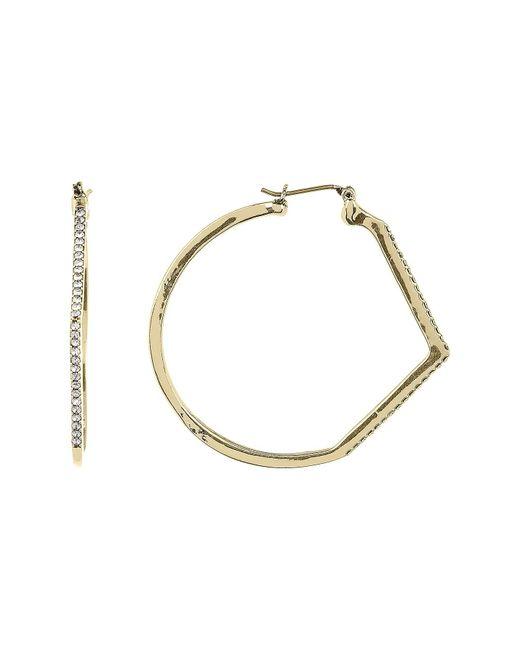 Jessica Simpson   Metallic Crystal Detail Chevron Accent 41mm Hoop Earrings   Lyst