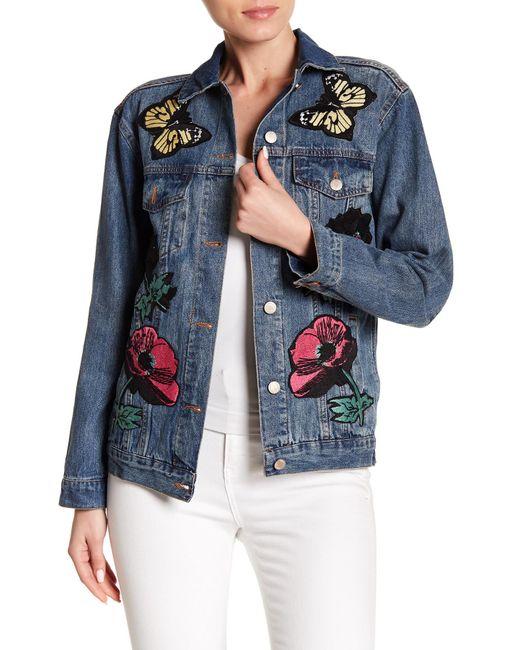 Haute Rogue - Blue Patch Detail Denim Jacket - Lyst