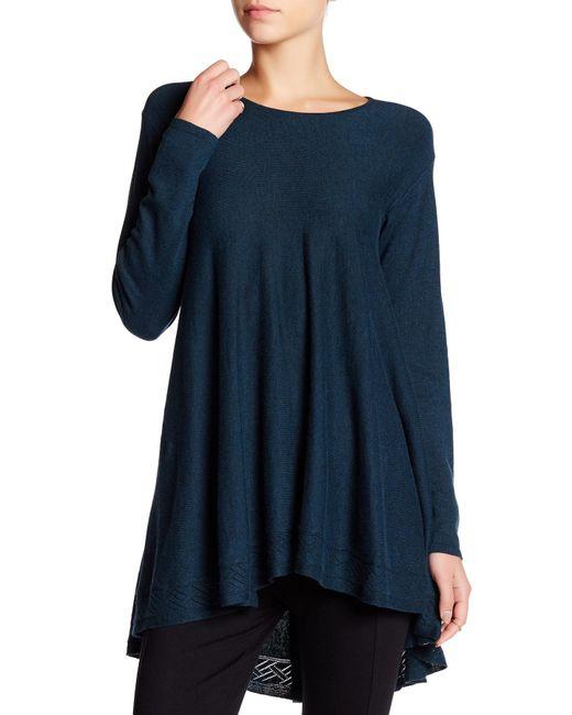 Max studio Long Sleeve Tunic Sweater in Blue
