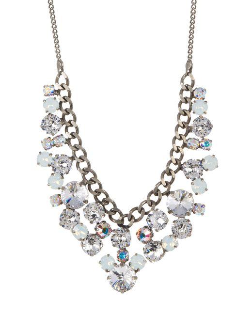 Sorrelli | White Round Crystal Cluster Bib Necklace | Lyst