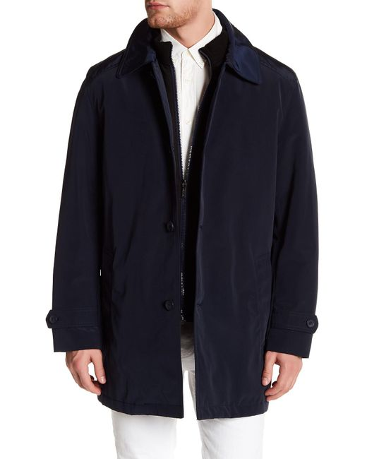Kenneth Cole | Blue Bonded Poly Raincoat for Men | Lyst