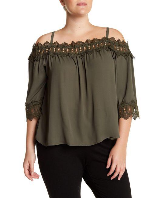 Breathless | Green Off-the-shoulder Crochet Trim Blouse (plus Size) | Lyst