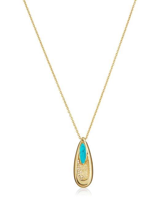 Melinda Maria - Metallic Victoria Pave Cz & Turquoise Teardrop Pendant Necklace - Lyst