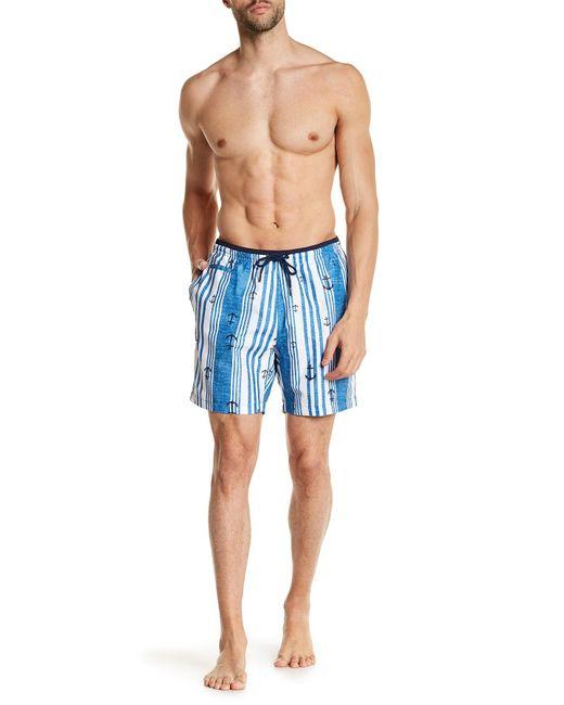 TRUNKS SURF AND SWIM CO - Blue Contrast San O Shirt Stripes Swim Trunks for Men - Lyst