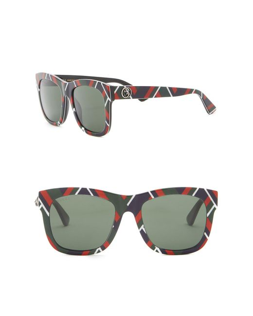 80e6507d0f Gucci - Green 54mm Square Sunglasses - Lyst ...