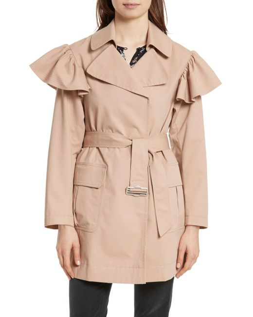 Rebecca Taylor - Natural Ruffle Trim Trench Coat - Lyst