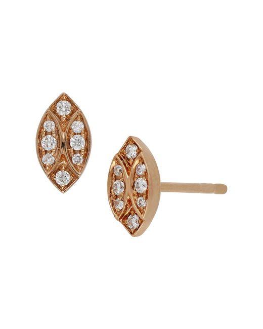 Bony Levy - Metallic 18k Rose Gold Diamond Marquise Stud Earrings - 0.11 Ctw - Lyst