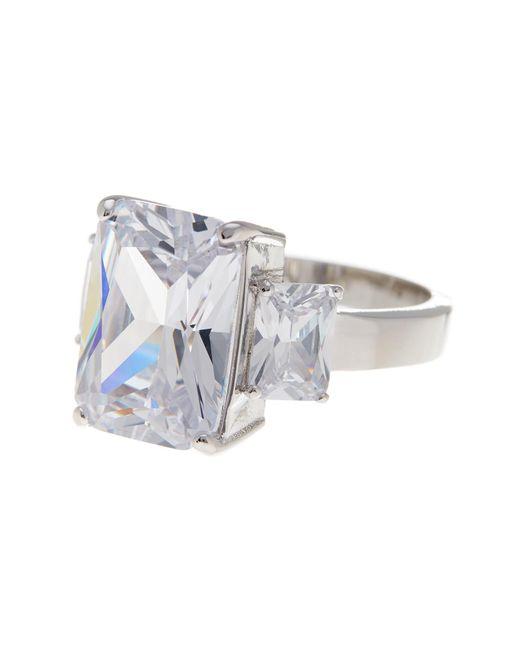 Ariella Collection   Metallic Cz Bold Three Stone Ring   Lyst