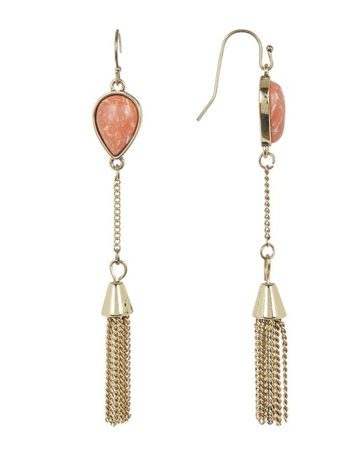 Jessica Simpson | White Stone & Tassel Drop Earrings | Lyst