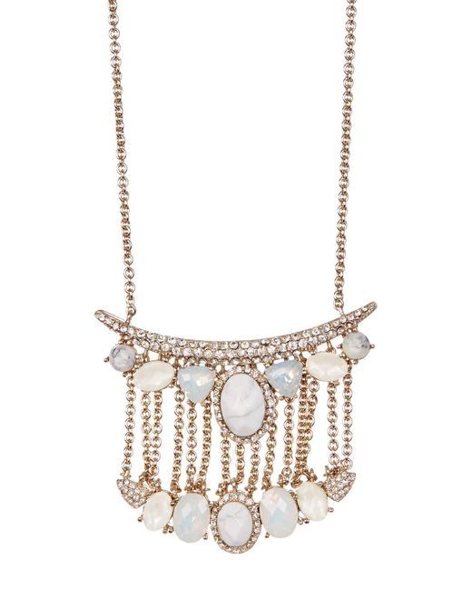 Jenny Packham   Metallic Tiered Pave Bar & Faceted Stone Pendant Necklace   Lyst