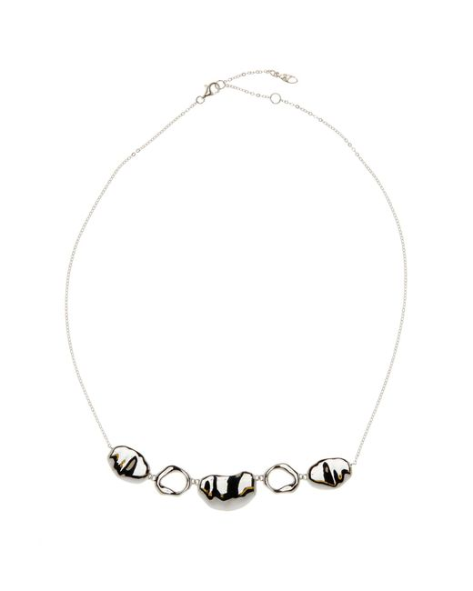Nadri | Metallic Sterling Silver Sculpted Frontal Necklace | Lyst