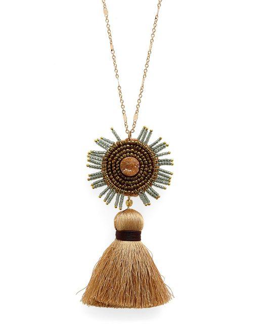 Panacea - Metallic Drusy Tassel Necklace - Lyst