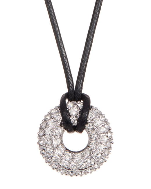 Swarovski - White Swaorvski Crystal Accented Wrapped Hoop Pendant Necklace - Lyst