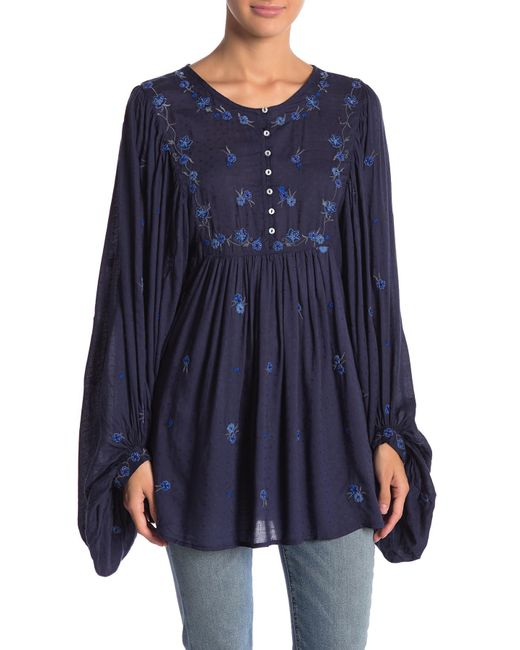 Free People - Blue Kiss From A Rose Top - Lyst