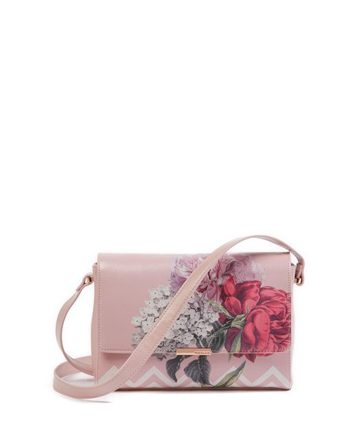 Ted Baker - Pink Teda Palace Gardens Faux Leather Crossbody Bag - Lyst