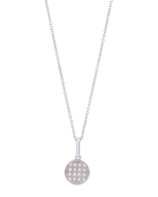 Bony Levy - Metallic 18k White Gold Pave Diamond Round Pendant Necklace - 0.08 Ctw - Lyst