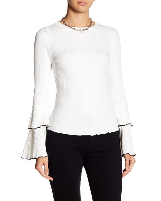 Haute Rogue | White Ribbed Tiered Sleeve Sweater | Lyst