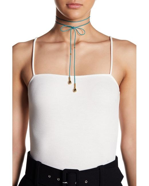 Elizabeth and James - Metallic 24k Gold Plated Leather Dottie Choker - Lyst
