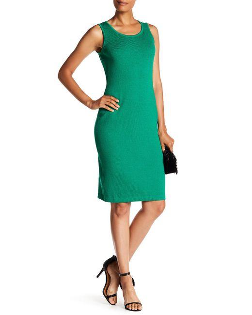 St. John - Green Santana Sleeveless Knit Dress - Lyst